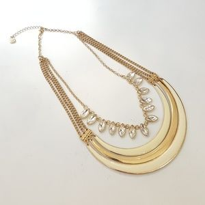 Jewelry - Gold and cream necklace, statement jewelry.